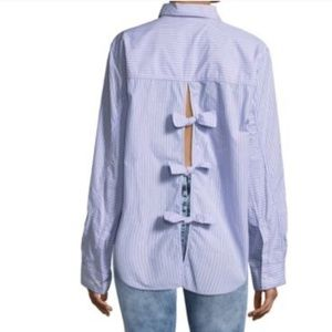 FP collared button-down with bow back